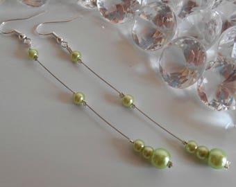 Wedding earrings lime green pearls