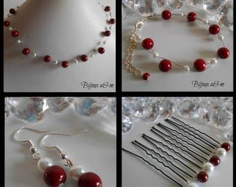 Set of 4 wedding pieces twist of Burgundy and white pearls