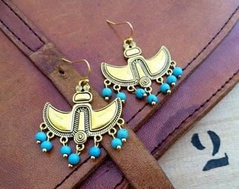 Boucles d'oreilles ethniques, egypte, or et howlite turquoise, maya, cléopatre, cadeau femme, fête des mères