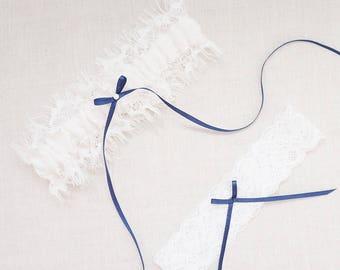 Something Blue Bridal Garter Set / Lace Wedding Garter Set / Eyelash Lace Garter Set / Keepsake Garter / Toss Garter / Bridal Shower Gifts