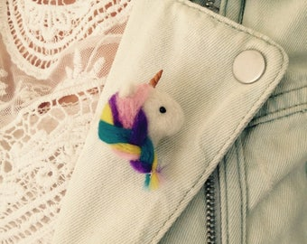 Unicorn felted brooch