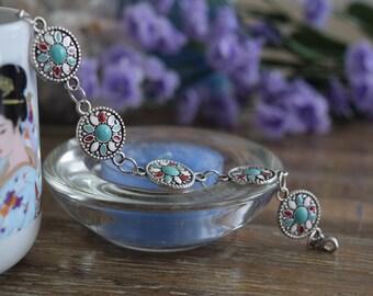 Turquoise Native American bracelet; turquoise, red, white, blue bracelet, coachella jewelry, indian jewelry