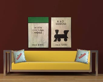 Monopoly Card Art Green North Carolina Avenue Property space painting Board Game Art game room decor kids room man cave pool room