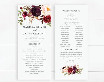 Printable Wedding Program | Order Of Ceremony, Marsala Wedding, Boho Chic, Rustic Wedding