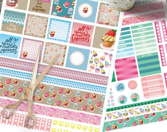 Cupcake Mini HappyPlanner  Stickers Printable, Cupcake Mini Happy planner, Weekly Kit,Printable Sampler,Instant download, Sweets stickers