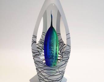 Hand blown blue Sculpture, Glass Object, Beautiful Glass gift.