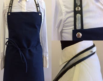 Apron with neck seal and leather strap