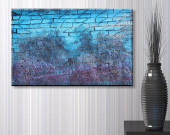 Original Abstract Painting | Blue Wall 40x60 cm | Acry on canvas