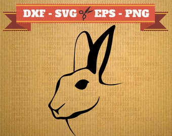 Rabbit DXF SVG digital cutting file, clipart, vector, cricut, DXF files, cnc, vinyl, laser Silhouette rabbit