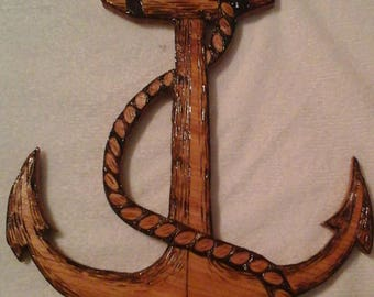 Nautical Anchor with Rope Wooden Plaque