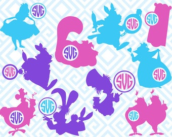 Alice in Wonderland Monogram, Digital Cuting Files, Svg Files for Silhouette, Cricut, White Rabbit Monogram, Red Queen SVG, 23luna