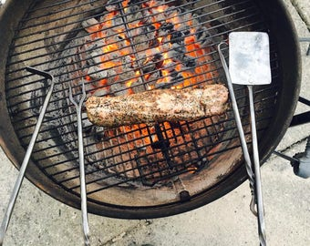 Hand Forged 4 PC BBQ Tool Set - Blacksmith Made - Spatula, Meat Fork, Steak Turner, Coal Rake -  Iron BBQ Tools