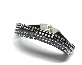 Bracelet double suede grey/black and rhinestone