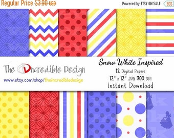 50% OFF SALE Snow white Inspired digital paper pack for scrapbooking, Making Cards, Tags and Invitations, Instant Download