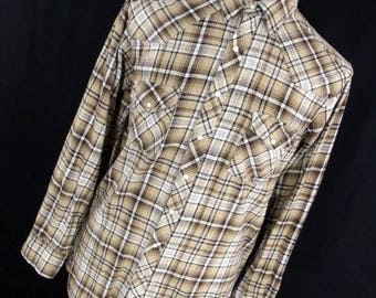 ON SALE Wrangler XLT Xl Tall Wrancher Western Brown Flannel Plaid Pearl Snap Front Cowboy Rodeo Men's L/S R7