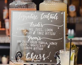 Custom mirror sign, Signature drink sign, bar menu, mirror sign, wedding, decor, bridal shower