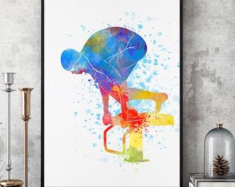 Swimmer Gift, Swimmer Art, Swimming Team,  Swimming Theme, Pool Wall Art, Watercolour Girl Swimmer, Gift For Her, 11x14 Print (N027)