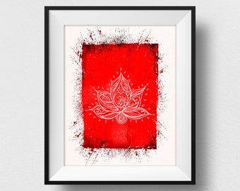 Lotus Flower Wall Art, Lotus Flower Print, Lotus Flower Painting, Yoga Wall Art, Indian Spirituality Print, Yoga Decor, Meditation (N542)