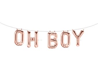 OH BOY Rose Gold Letter Balloons | Metallic Letter Balloons | Rose Gold Party Decorations