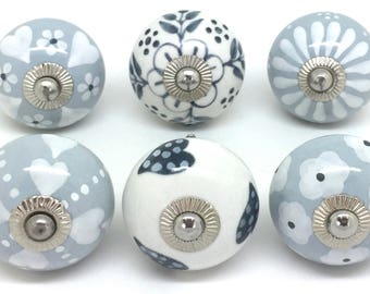 set of 6 ceramic door knobs designed by u0026 exclusive to these please grey and white mix for cupboard doors and drawers s69