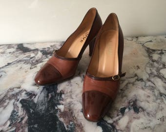 1970s vintage brown patent leather pumps high heel shoes with buckle detail - Size Eu 36 1/2 37 UK 4 US 6
