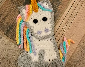 Baby Unicorn Applique Pattern - INSTANT DOWNLOAD PDF - Crochet Pattern - Applique Pattern - Unicorn Pattern - Crocheted Unicorn Pattern