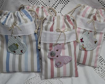 Set of 2 mini bags striped shabby blue or pink heart and butterfly on eyelet 12.5 x 20