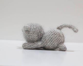 Amigurumi Cat Plushie - Extra Soft Stuffed Animal - Playful Cat Softie - Amigurumi Cat Toy - Angora Wool Cat Plushie - Kitty Stuffed Animal