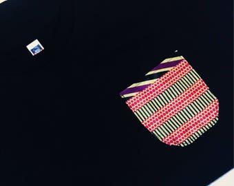 Black Pocket Tee // African Print Pocket Tee // African Wax Print Pocket Tee