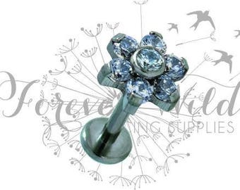 Dainty Flower Labret With Diamante Detail