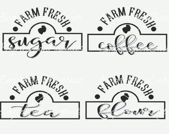 Farm Fresh Chicken Kitchen Canisters SVG file | Farm Fresh Chicken Kitchen Canisters DXF file