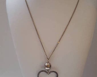 ON SALE Vintage Long Silver Necklace with Silver Heart Pendant