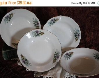 SALE Set of 4 Porcelain  Soup Bowls - Purple, White, and Yellow Daisies, Made in China