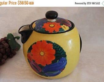 SALE Collectible J Mrazek Large Teapot ~ Czech Peasant Art Pottery ~ Art Deco ~ 1920s