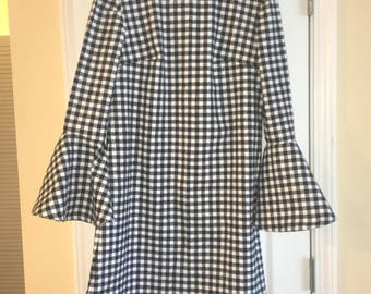 Black Gingham Bell Sleeve Dress
