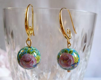 Golden earrings, tensha beads