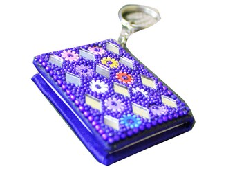 Decorative Keychain Dairy Home Decor Writing Pad Beaded Material Designer Key Ring Purple Small Pad Dairy Gift