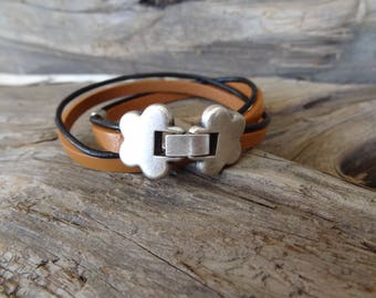 EXPRESS SHIPPING,Wrap Leather Bracelet,Camel Leather Bracelet,Multi-strand Cuff,Bangle,Charm Bracelet,Gift for her,Mother's Day Gift