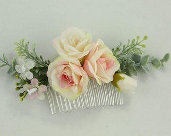 Flower Hair Comb Chic Nice Cream Light Pink Flowers