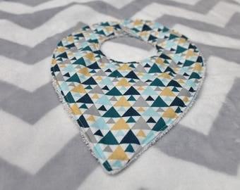 bandana bib fabric geometric, Scandinavian triangles cotton and sponge