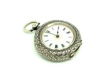 Antique 1888 Pocket Watch | Swiss Pocket Watch | Sterling Silver Watch | Pink Enamel Pocket Watch | Victorian Pocket Watch | Pocket Watch