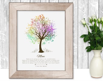 Presents For Mom 60th Birthday Gift for Mom Birthday Gift Personalized Mothers Day Gift For Mothers Day Tree Watercolor Gifts for Women Tree
