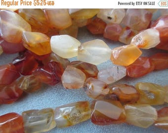 ON SALE 15% OFF Carnelian Faceted Nuggets Beads 29pcs