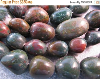 ON SALE 15% OFF Bloodstone Nuggets Beads 18pcs