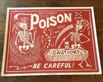 Madame Talbot's Red Poison Label Skeleton Beware Poster Victorian Lowbrow