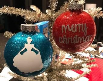 Custom Glitter Ornaments Shatterproof Disc Shape Quantity 1-5
