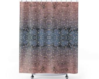 Rose Gold Stars On Dusk Curtain Bathmat