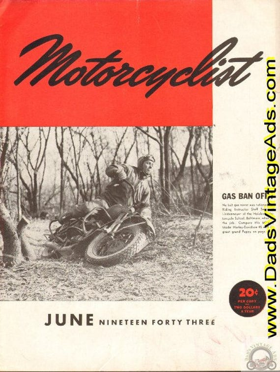 1943 June Motorcyclist Motorcycle Magazine Back-Issue #4306mc