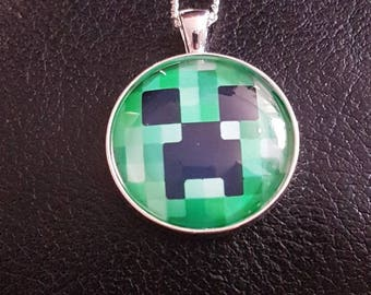 Minecraft Creeper Glass Pendant Necklace