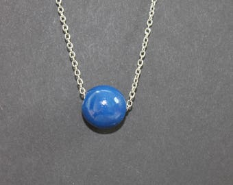Wooden necklace // Blue beaded necklace // Handmade necklace // Painted bead // Teacher's Gift
